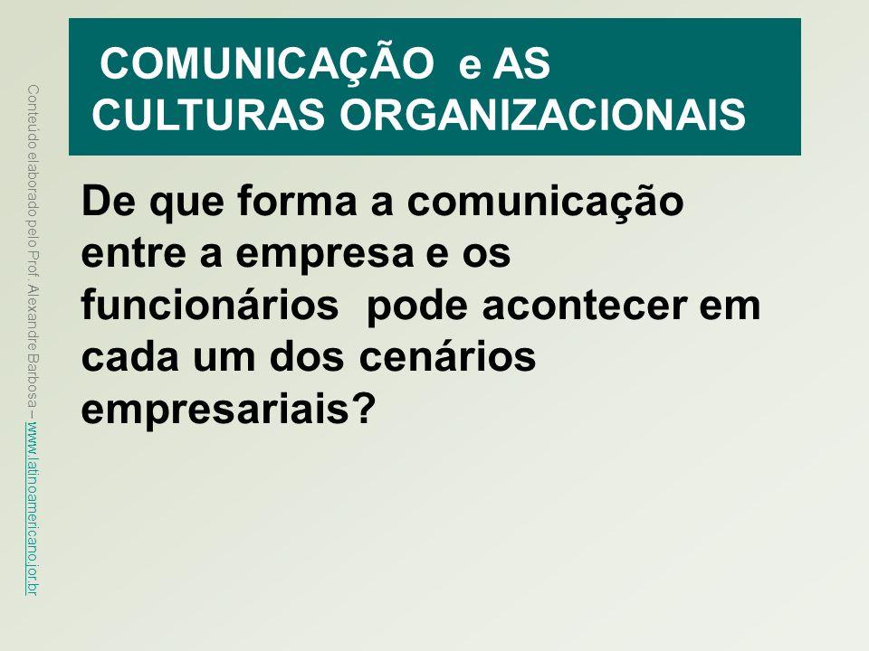 Conteúdo elaborado pelo Prof. Alexandre Barbosa – www.latinoamericano.jor.br www.latinoamericano.jor.br COMUNICAÇÃO e AS CULTURAS ORGANIZACIONAIS De q