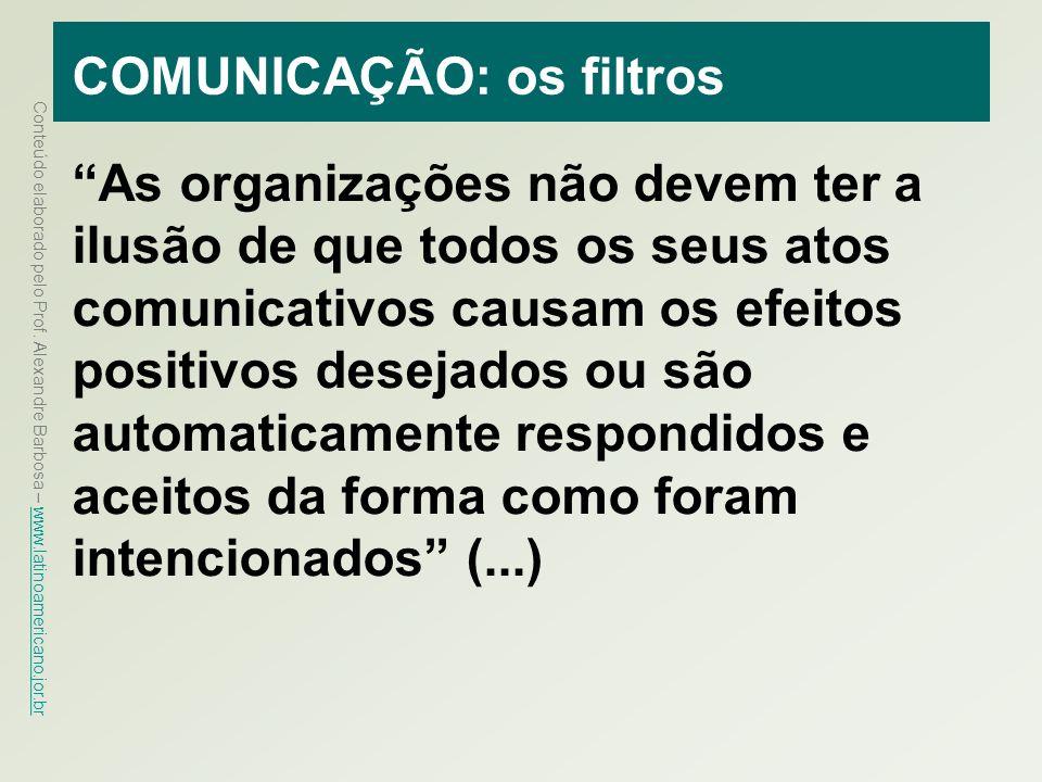 Conteúdo elaborado pelo Prof. Alexandre Barbosa – www.latinoamericano.jor.br www.latinoamericano.jor.br COMUNICAÇÃO: os filtros As organizações não de