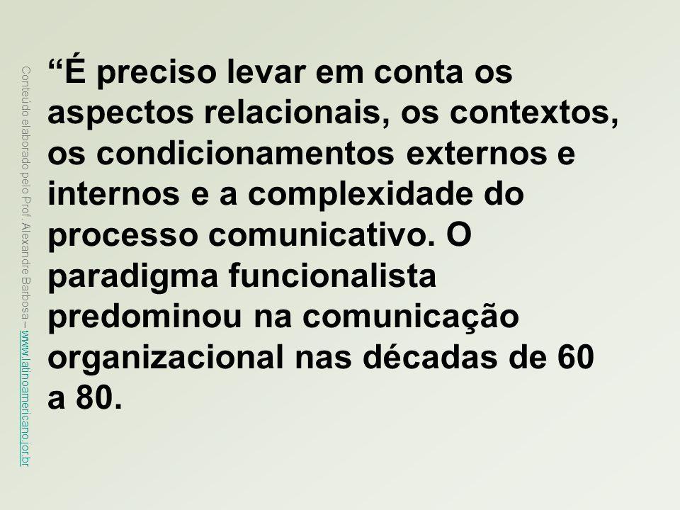 Conteúdo elaborado pelo Prof. Alexandre Barbosa – www.latinoamericano.jor.br www.latinoamericano.jor.br É preciso levar em conta os aspectos relaciona