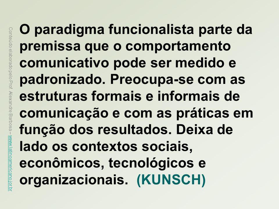 Conteúdo elaborado pelo Prof. Alexandre Barbosa – www.latinoamericano.jor.br www.latinoamericano.jor.br O paradigma funcionalista parte da premissa qu