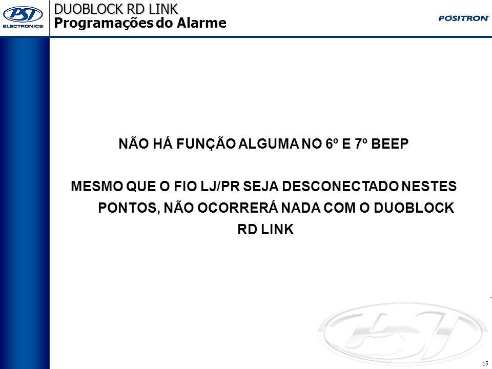 14 DUOBLOCK RD LINK DUOBLOCK RD LINK Programações 1. Habilitar/desabilitar o alarme; 2. Habilitar/desabilitar os beeps de ativação e desativação do al