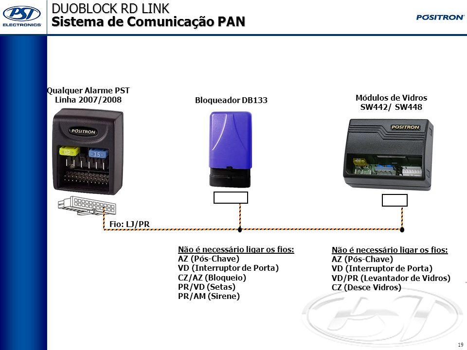18 DUOBLOCK RD LINK DUOBLOCK RD LINK Diagrama de Instalação MR - SENSOR DE MOVIMENTO VM - (+12Vcc) PR/AM PR/VD - SETA DIR. PR/VD - SETA ESQ. PR - MASS