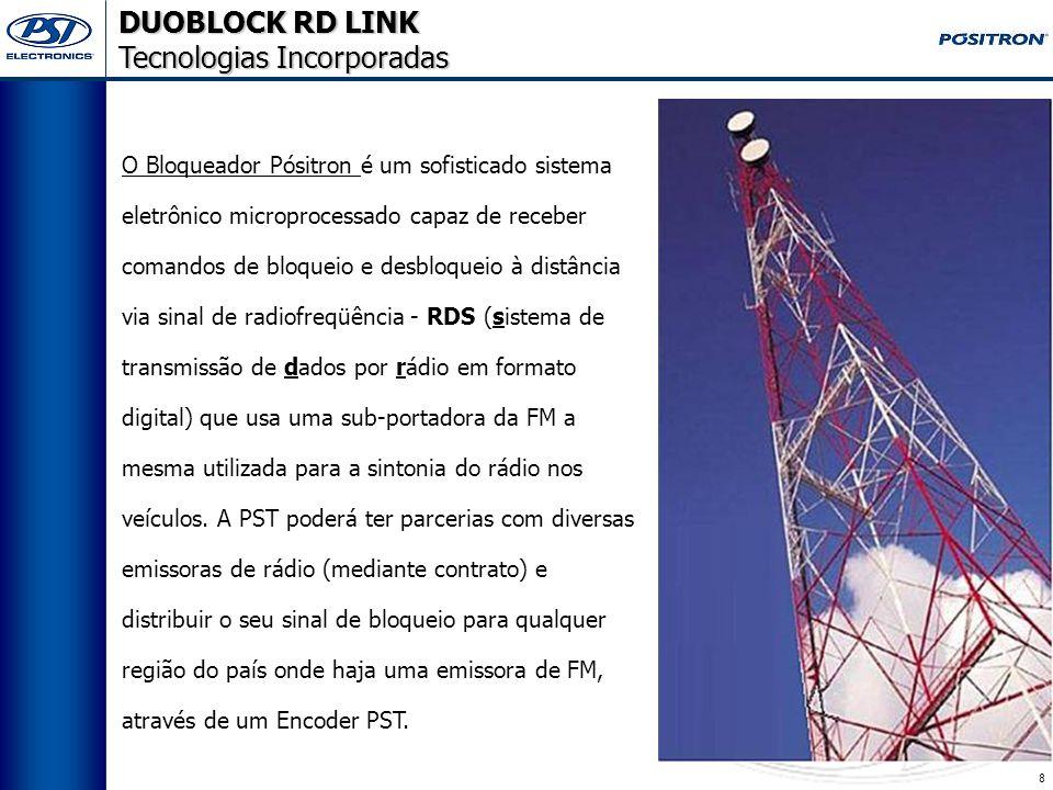 8 DUOBLOCK RD LINK Tecnologias Incorporadas O Bloqueador Pósitron é um sofisticado sistema eletrônico microprocessado capaz de receber comandos de bloqueio e desbloqueio à distância via sinal de radiofreqüência - RDS (sistema de transmissão de dados por rádio em formato digital) que usa uma sub-portadora da FM a mesma utilizada para a sintonia do rádio nos veículos.