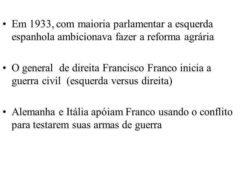 Em 1933, com maioria parlamentar a esquerda espanhola ambicionava fazer a reforma agrária O general de direita Francisco Franco inicia a guerra civil