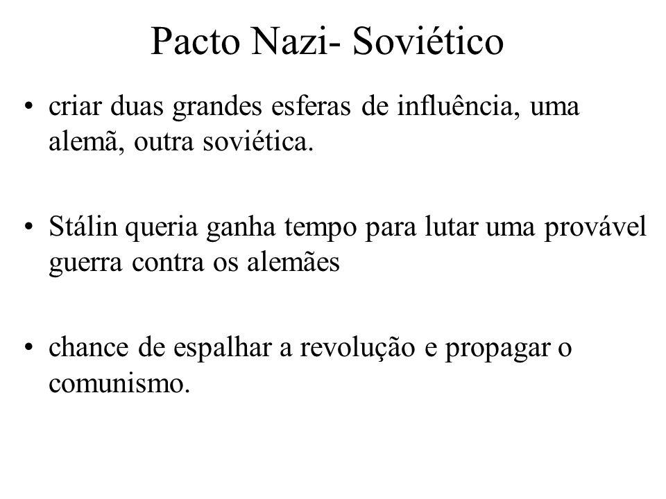 Pacto Nazi- Soviético criar duas grandes esferas de influência, uma alemã, outra soviética. Stálin queria ganha tempo para lutar uma provável guerra c