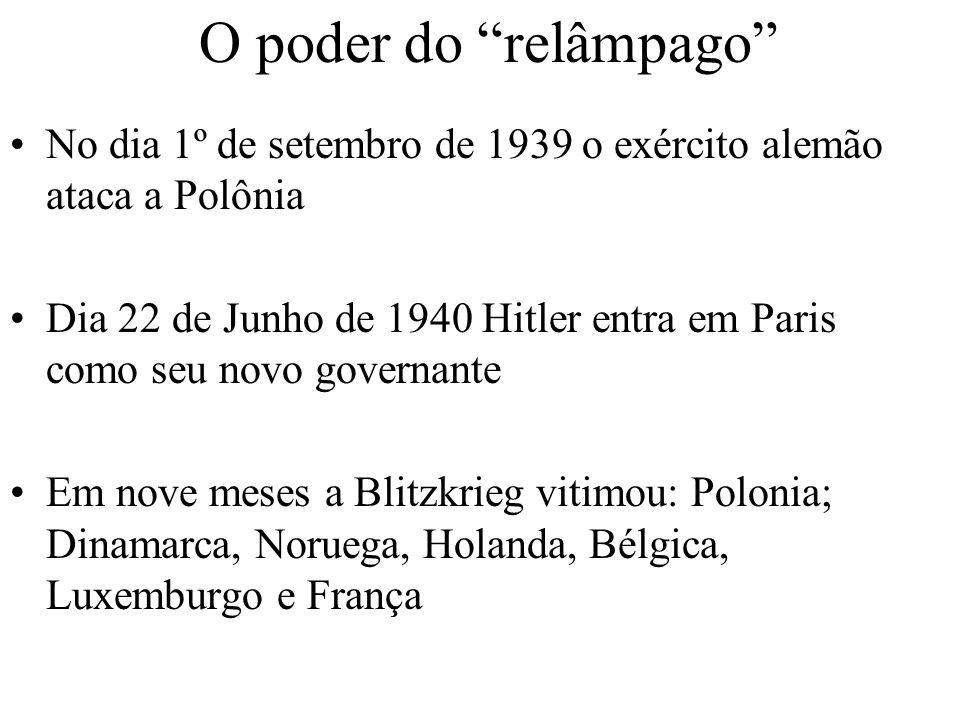 O poder do relâmpago No dia 1º de setembro de 1939 o exército alemão ataca a Polônia Dia 22 de Junho de 1940 Hitler entra em Paris como seu novo gover