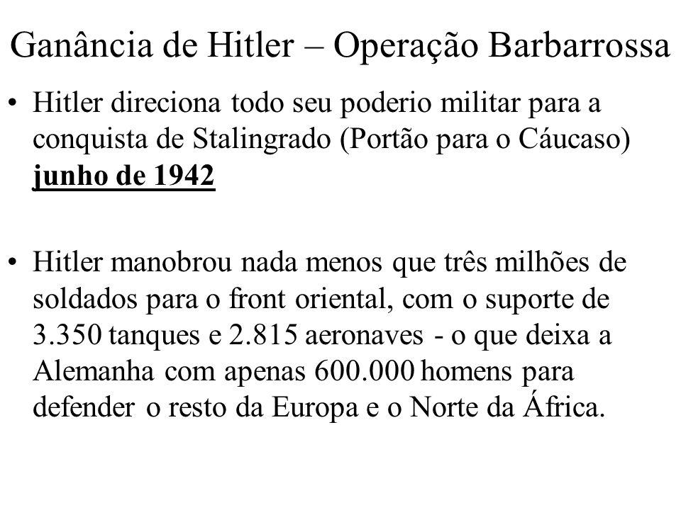 Ganância de Hitler – Operação Barbarrossa Hitler direciona todo seu poderio militar para a conquista de Stalingrado (Portão para o Cáucaso) junho de 1