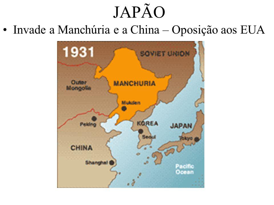 JAPÃO Invade a Manchúria e a China – Oposição aos EUA