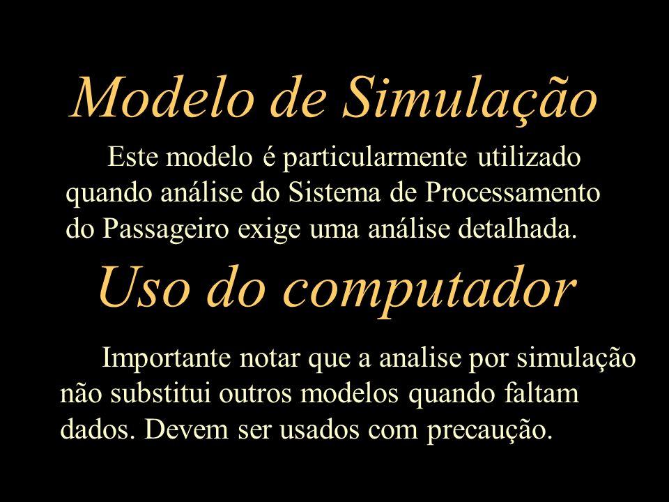 Modelo de Simulação Importante notar que a analise por simulação não substitui outros modelos quando faltam dados. Devem ser usados com precaução. Uso