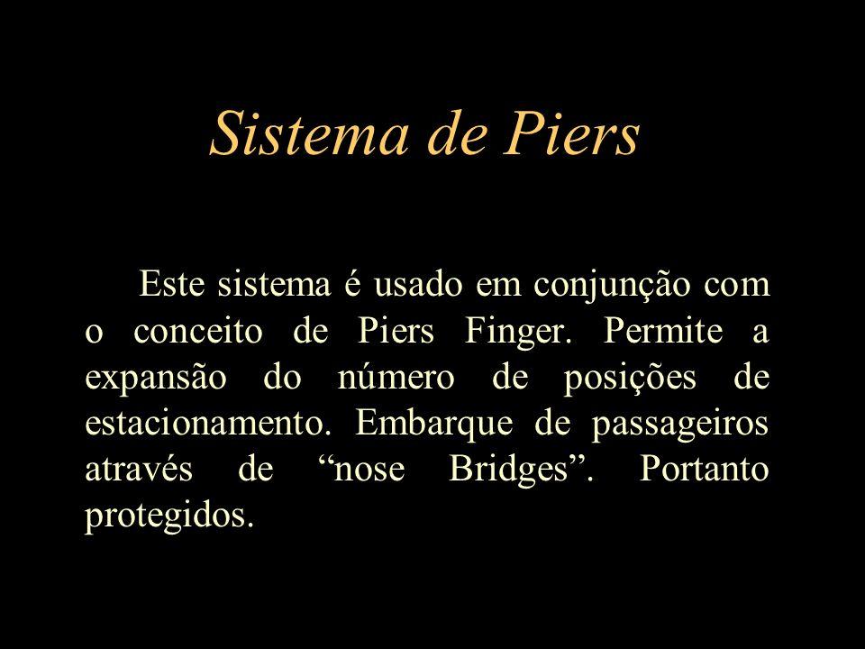 Sistema de Piers Este sistema é usado em conjunção com o conceito de Piers Finger. Permite a expansão do número de posições de estacionamento. Embarqu