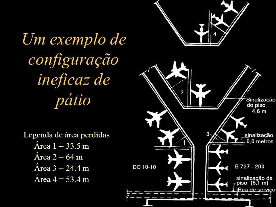 Um exemplo de configuração ineficaz de pátio Legenda de área perdidas Área 1 = 33.5 m Área 2 = 64 m Área 3 = 24.4 m Área 4 = 53.4 m