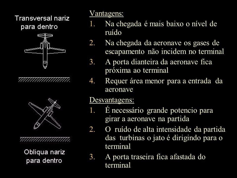 Vantagens: 1.Na chegada é mais baixo o nível de ruído 2.Na chegada da aeronave os gases de escapamento não incidem no terminal 3.A porta dianteira da
