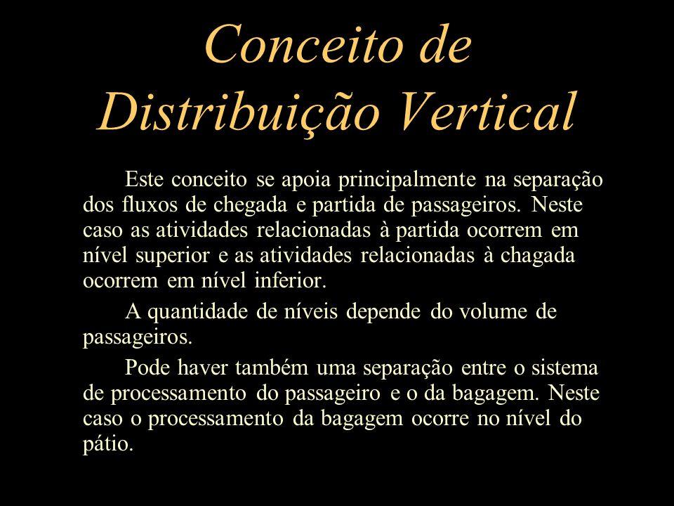 Conceito de Distribuição Vertical Este conceito se apoia principalmente na separação dos fluxos de chegada e partida de passageiros. Neste caso as ati