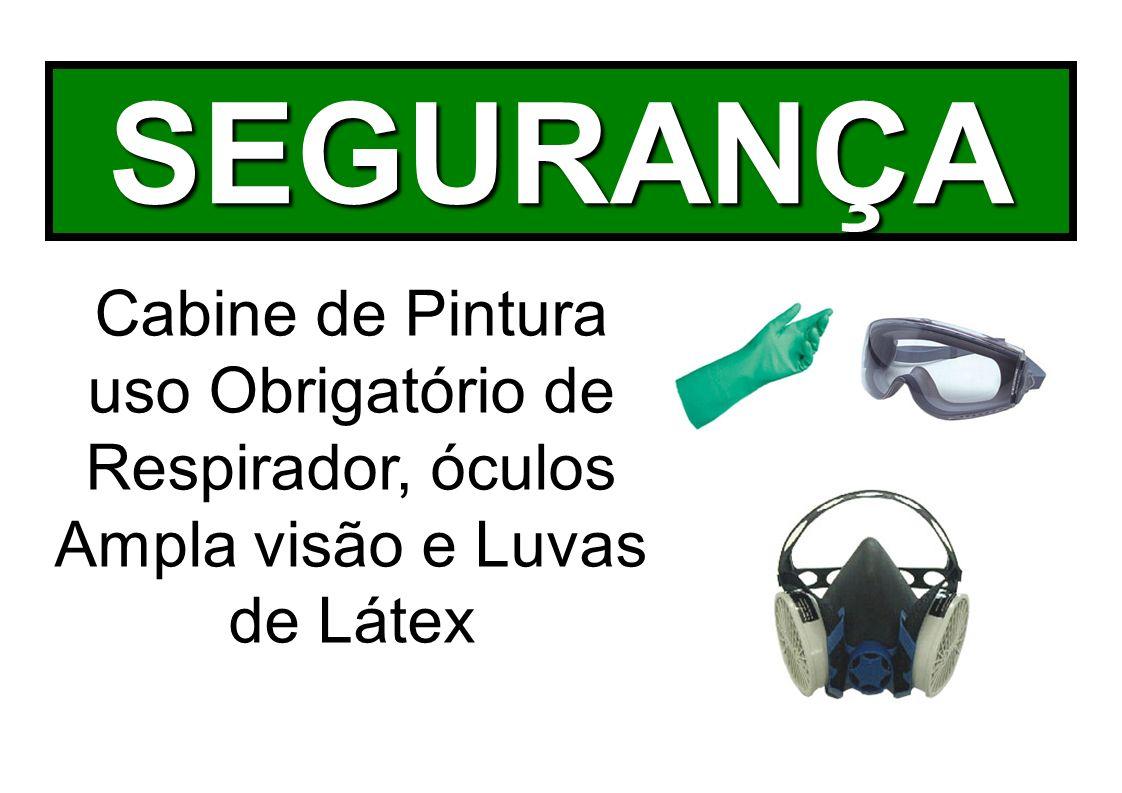 SEGURANÇA Cabine de Pintura uso Obrigatório de Respirador, óculos Ampla visão e Luvas de Látex