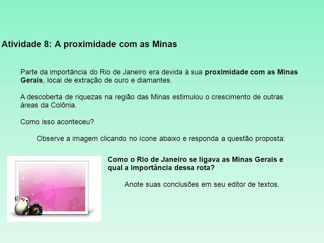 Atividade 8: A proximidade com as Minas Parte da importância do Rio de Janeiro era devida à sua proximidade com as Minas Gerais, local de extração de
