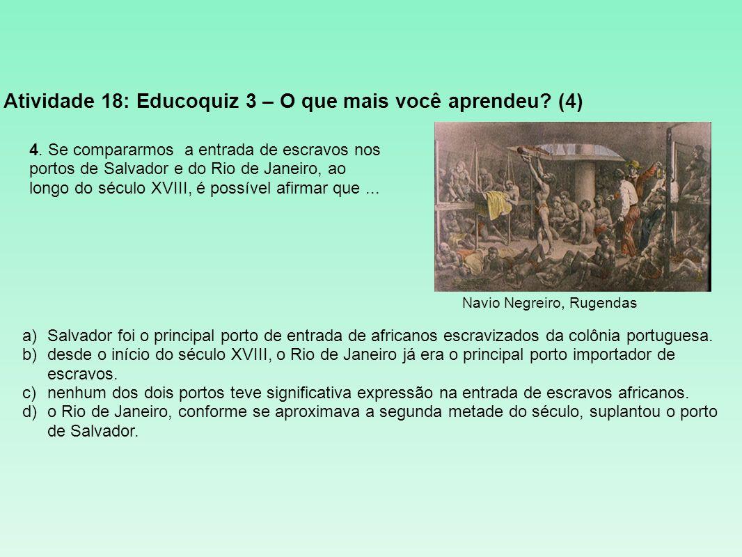 Atividade 18: Educoquiz 3 – O que mais você aprendeu? (4) a)Salvador foi o principal porto de entrada de africanos escravizados da colônia portuguesa.