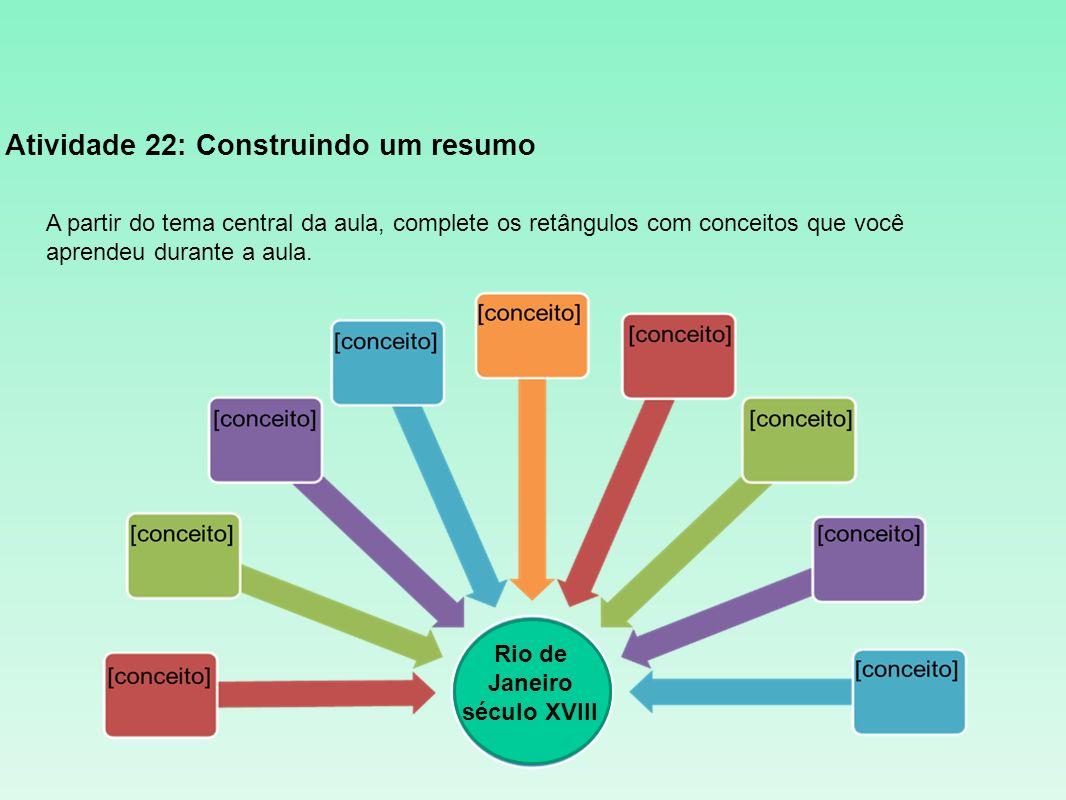 Atividade 22: Construindo um resumo A partir do tema central da aula, complete os retângulos com conceitos que você aprendeu durante a aula. Rio de Ja