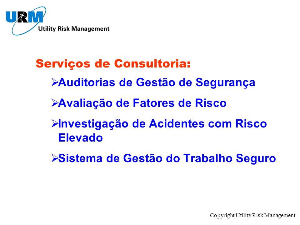 Copyright Utility Risk Management Serviços de Consultoria: Auditorias de Gestão de Segurança Avaliação de Fatores de Risco Investigação de Acidentes c