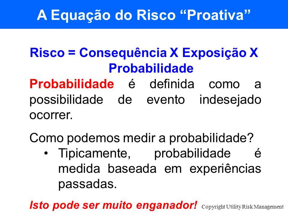 Copyright Utility Risk Management Risco = Consequência X Exposição X Probabilidade Probabilidade é definida como a possibilidade de evento indesejado
