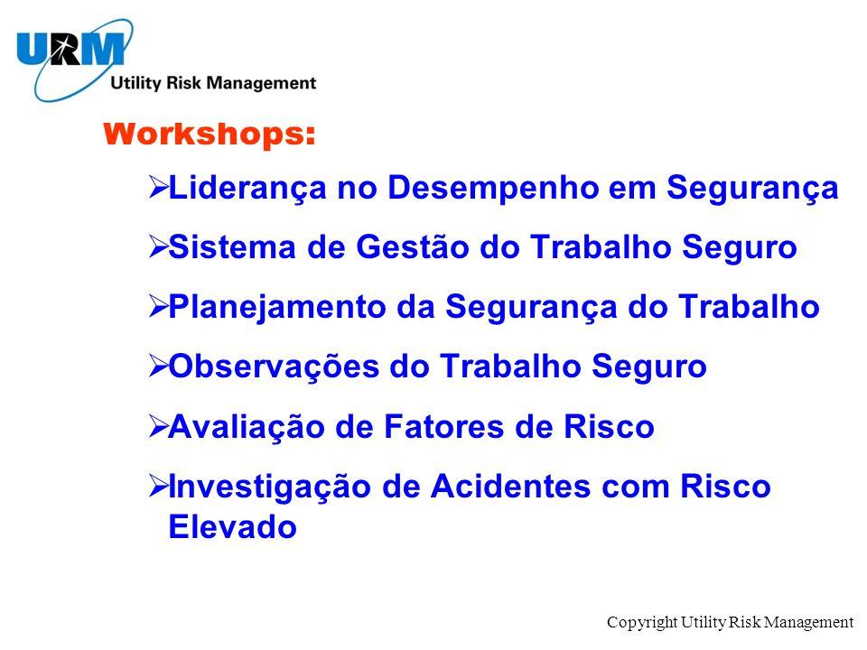 Copyright Utility Risk Management Workshops: Liderança no Desempenho em Segurança Sistema de Gestão do Trabalho Seguro Planejamento da Segurança do Tr