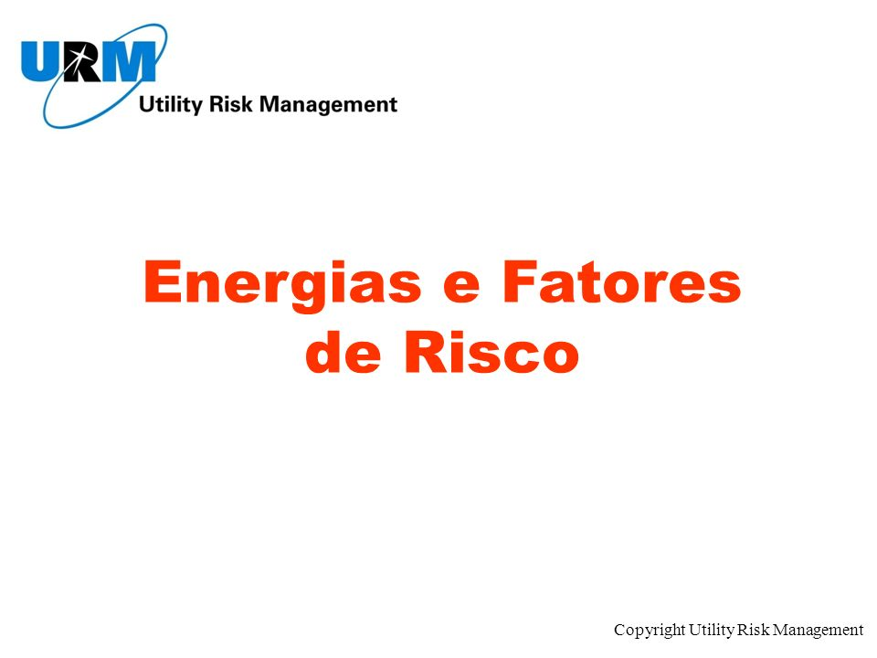 Copyright Utility Risk Management Energias e Fatores de Risco