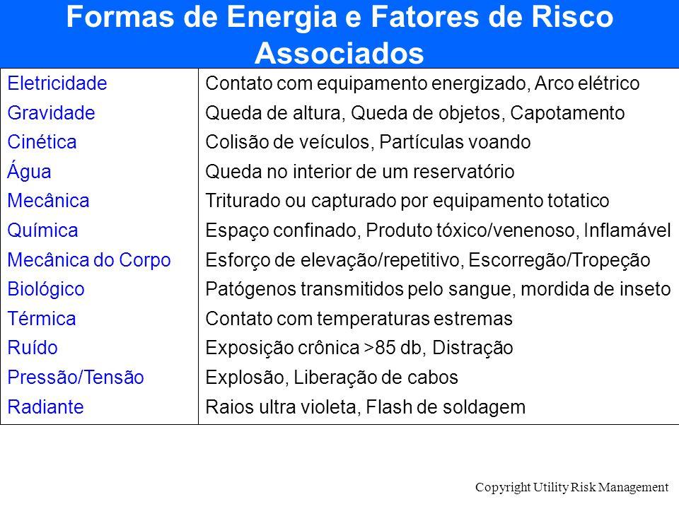 Copyright Utility Risk Management Formas de Energia e Fatores de Risco Associados Eletricidade Gravidade Cinética Água Mecânica Química Mecânica do Co