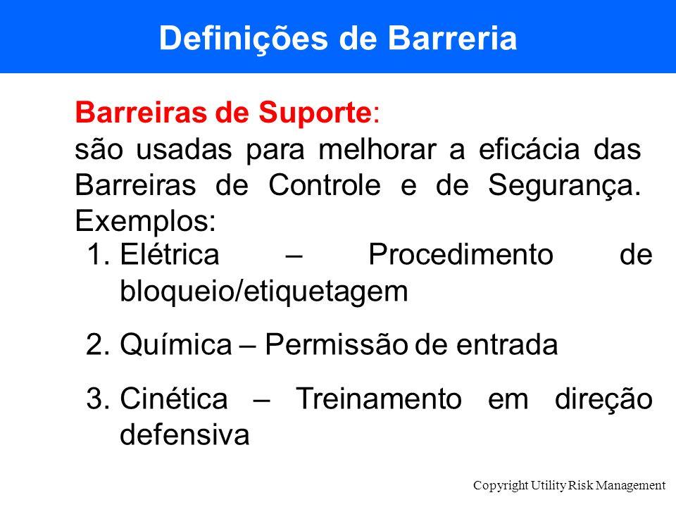Copyright Utility Risk Management Definições de Barreria Barreiras de Suporte: são usadas para melhorar a eficácia das Barreiras de Controle e de Segu