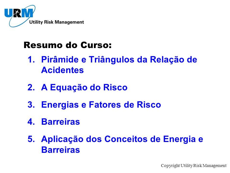 Copyright Utility Risk Management Resumo do Curso: 1.Pirâmide e Triângulos da Relação de Acidentes 2.A Equação do Risco 3.Energias e Fatores de Risco