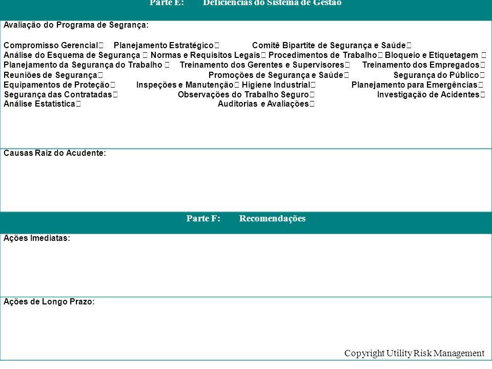 Copyright Utility Risk Management Parte E: Deficiências do Sistema de Gestão Avaliação do Programa de Segrança: Compromisso Gerencial Planejamento Est