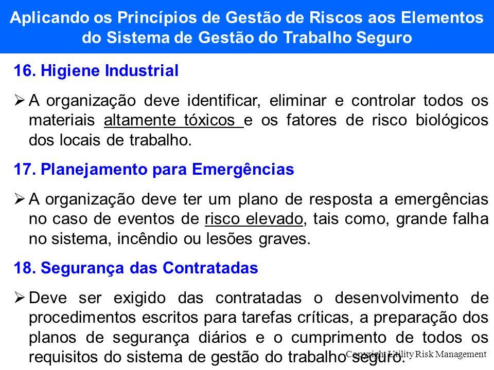 Copyright Utility Risk Management 16. Higiene Industrial A organização deve identificar, eliminar e controlar todos os materiais altamente tóxicos e o