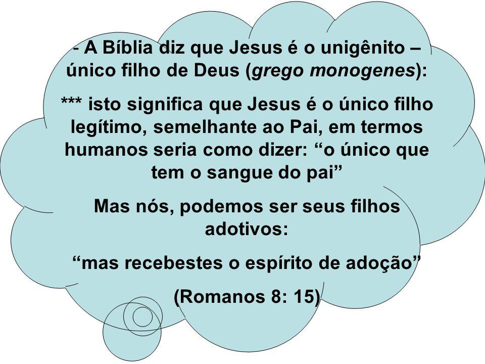 - A Bíblia diz que Jesus é o unigênito – único filho de Deus (grego monogenes): *** isto significa que Jesus é o único filho legítimo, semelhante ao P