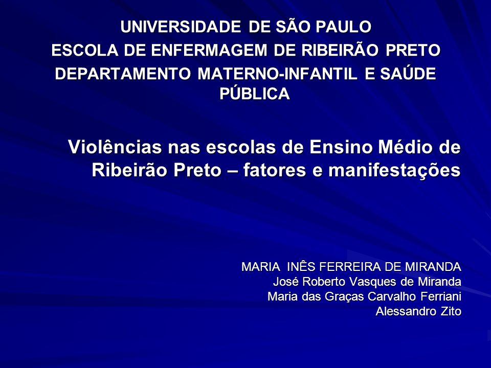 Violências nas escolas de Ensino Médio de Ribeirão Preto – fatores e manifestações MARIA INÊS FERREIRA DE MIRANDA José Roberto Vasques de Miranda Mari