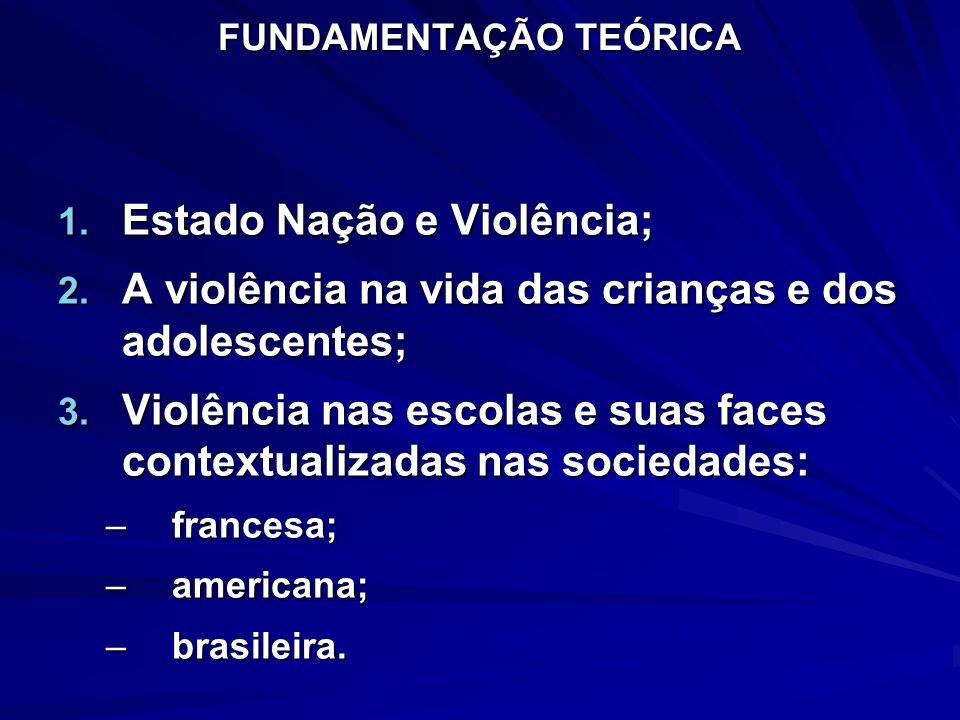 FUNDAMENTAÇÃO TEÓRICA 1. Estado Nação e Violência; 2. A violência na vida das crianças e dos adolescentes; 3. Violência nas escolas e suas faces conte