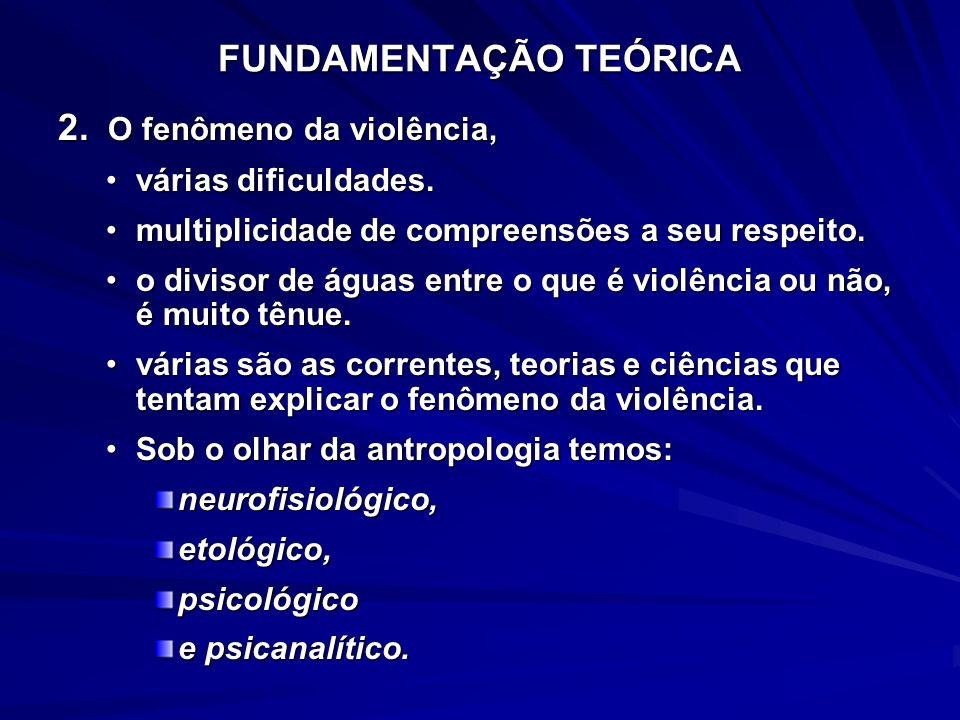 FUNDAMENTAÇÃO TEÓRICA 2. O fenômeno da violência, várias dificuldades.várias dificuldades. multiplicidade de compreensões a seu respeito.multiplicidad