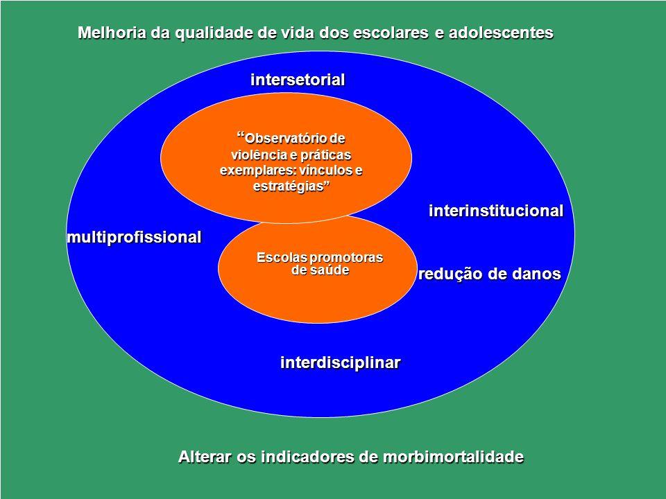 Alterar os indicadores de morbimortalidade Escolas promotoras de saúde Observatório de violência e práticas exemplares: vínculos e estratégias Observa