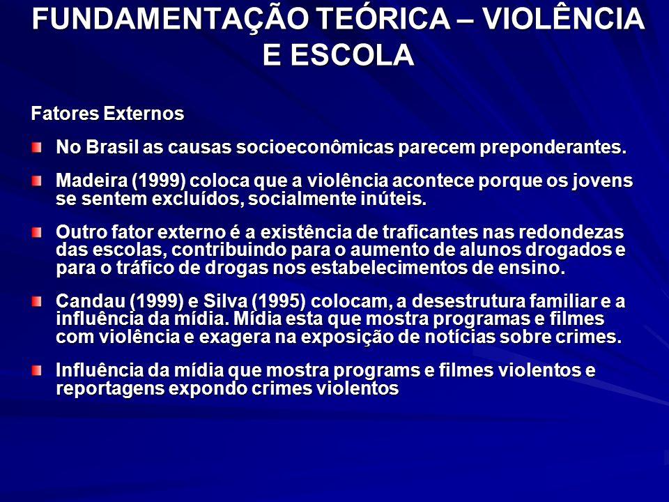 FUNDAMENTAÇÃO TEÓRICA – VIOLÊNCIA E ESCOLA Fatores Externos No Brasil as causas socioeconômicas parecem preponderantes. Madeira (1999) coloca que a vi