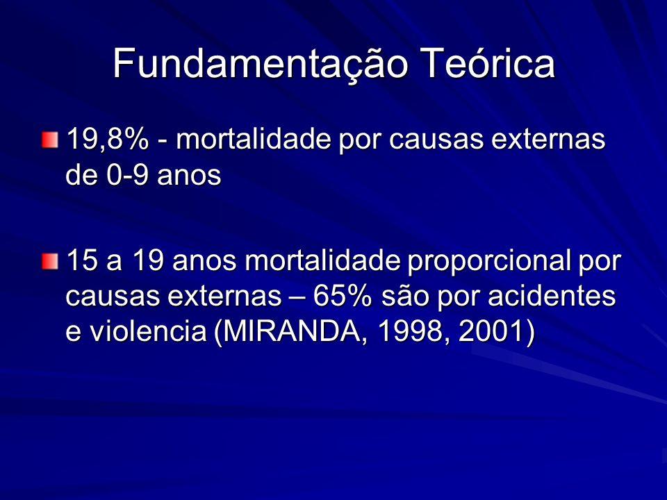 Fundamentação Teórica 19,8% - mortalidade por causas externas de 0-9 anos 15 a 19 anos mortalidade proporcional por causas externas – 65% são por acid