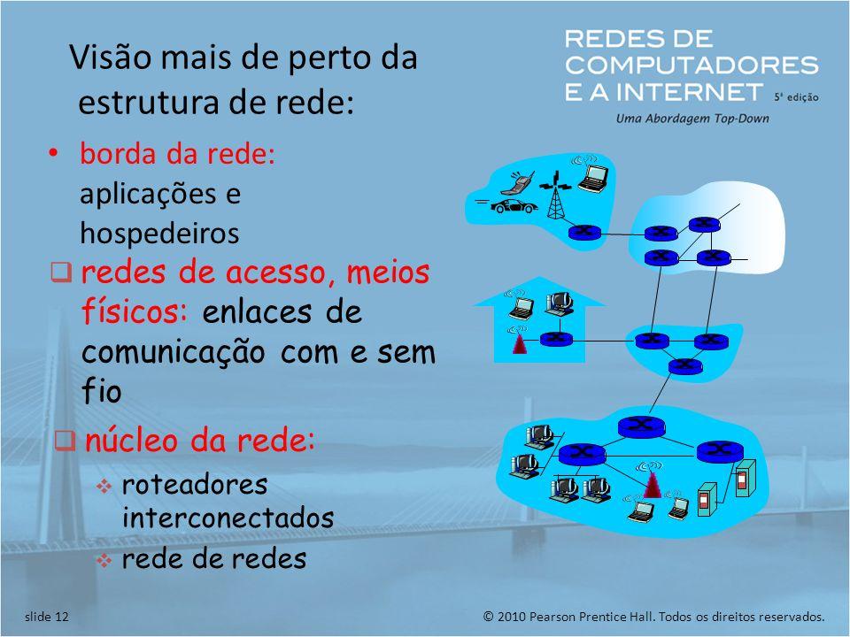 © 2010 Pearson Prentice Hall. Todos os direitos reservados.slide 12 Visão mais de perto da estrutura de rede: borda da rede: aplicações e hospedeiros