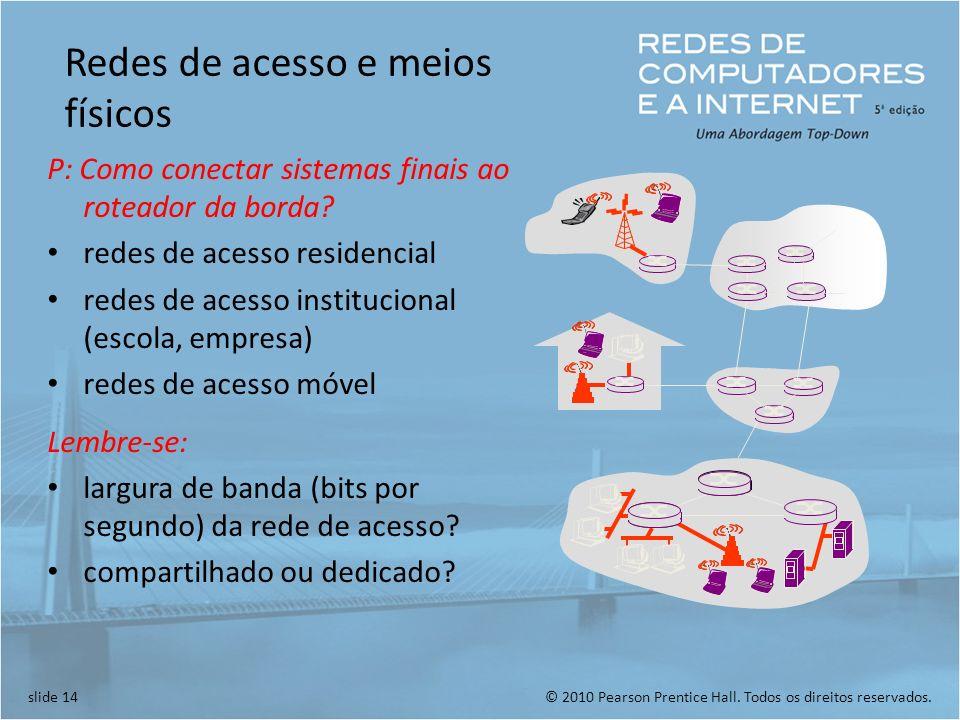 © 2010 Pearson Prentice Hall. Todos os direitos reservados.slide 14 Redes de acesso e meios físicos P: Como conectar sistemas finais ao roteador da bo