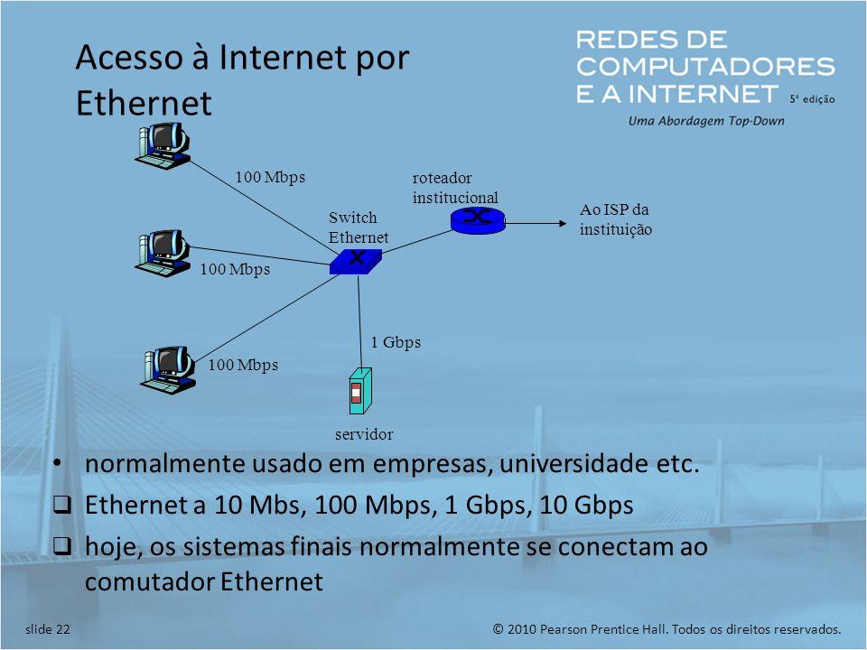 © 2010 Pearson Prentice Hall. Todos os direitos reservados.slide 22 100 Mbps 1 Gbps servidor Switch Ethernet roteador institucional Ao ISP da institui