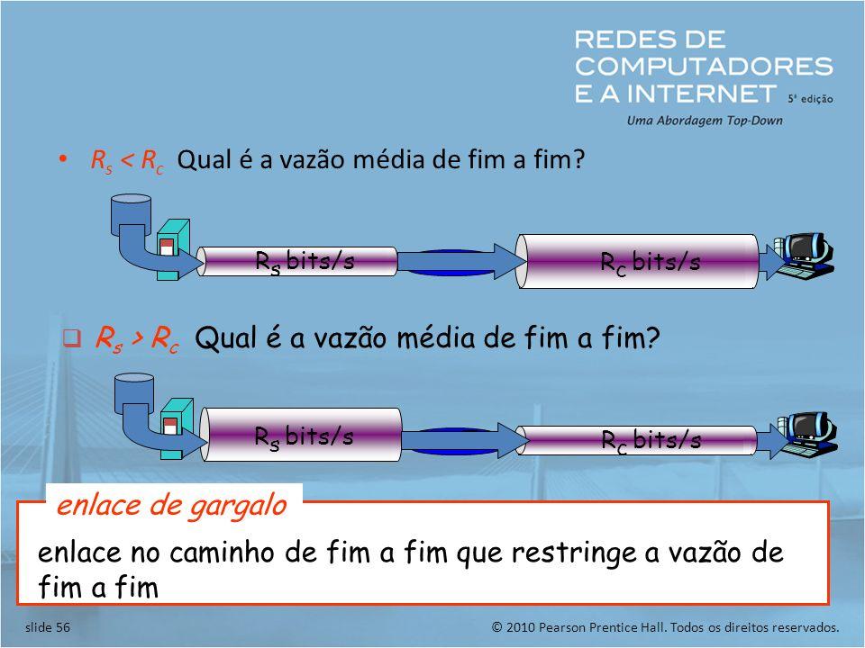 © 2010 Pearson Prentice Hall. Todos os direitos reservados.slide 56 R s < R c Qual é a vazão média de fim a fim? R s bits/s R c bits/s R s > R c Qual