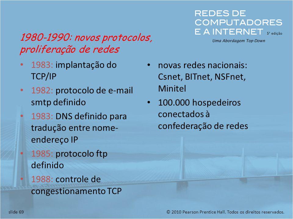 © 2010 Pearson Prentice Hall. Todos os direitos reservados.slide 69 1983: implantação do TCP/IP 1982: protocolo de e-mail smtp definido 1983: DNS defi