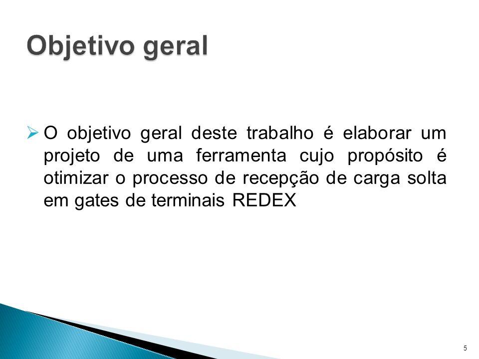 Objetivo geral O objetivo geral deste trabalho é elaborar um projeto de uma ferramenta cujo propósito é otimizar o processo de recepção de carga solta