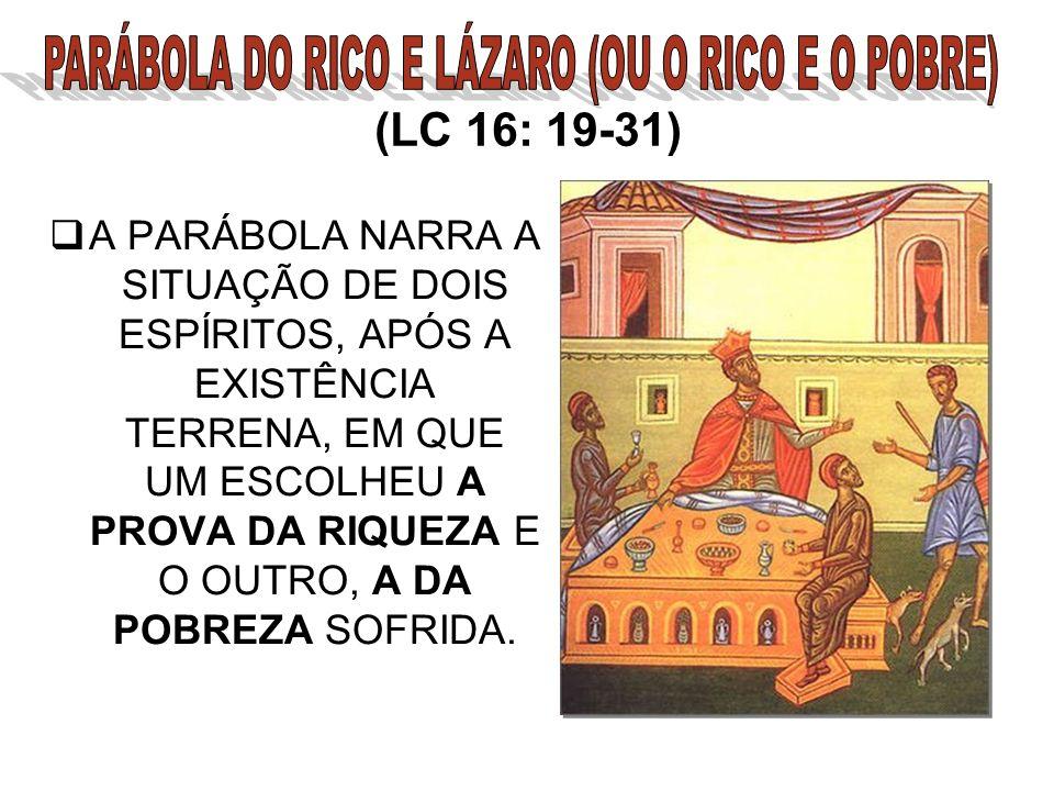 (LC 16: 19-31) A PARÁBOLA NARRA A SITUAÇÃO DE DOIS ESPÍRITOS, APÓS A EXISTÊNCIA TERRENA, EM QUE UM ESCOLHEU A PROVA DA RIQUEZA E O OUTRO, A DA POBREZA