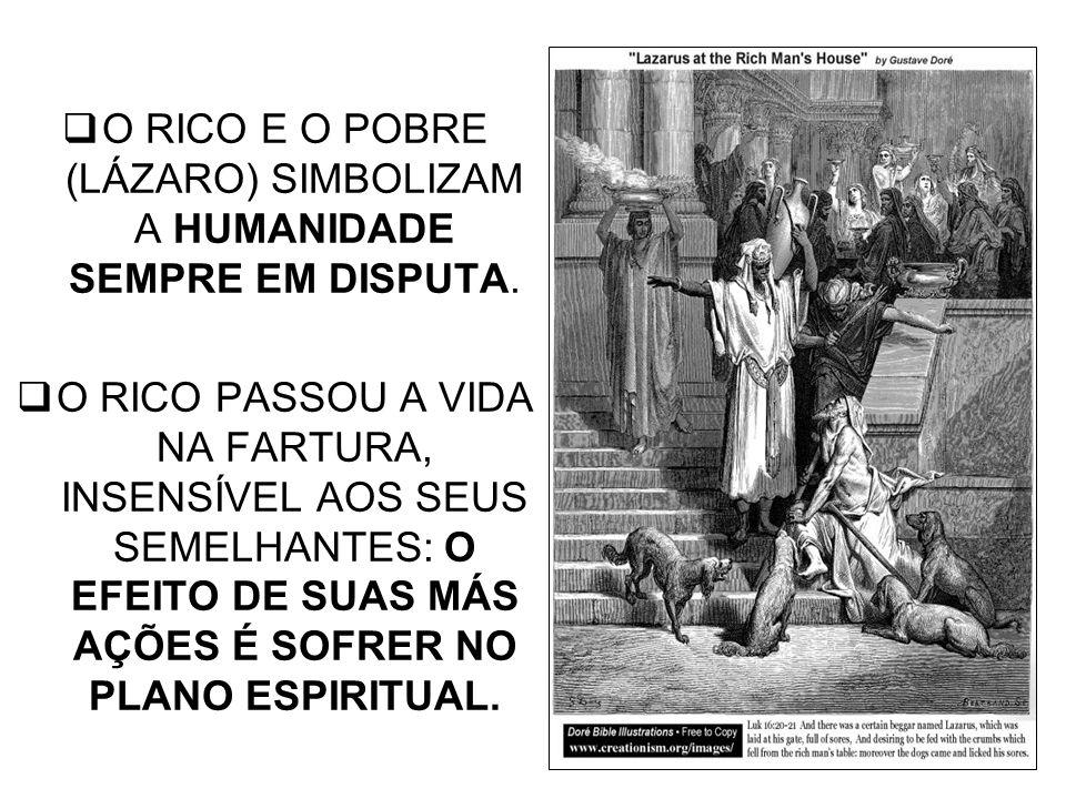 O RICO E O POBRE (LÁZARO) SIMBOLIZAM A HUMANIDADE SEMPRE EM DISPUTA. O RICO PASSOU A VIDA NA FARTURA, INSENSÍVEL AOS SEUS SEMELHANTES: O EFEITO DE SUA