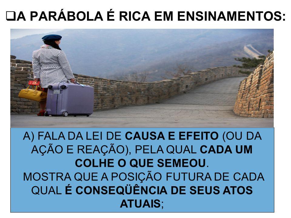 A PARÁBOLA É RICA EM ENSINAMENTOS: A) FALA DA LEI DE CAUSA E EFEITO (OU DA AÇÃO E REAÇÃO), PELA QUAL CADA UM COLHE O QUE SEMEOU. MOSTRA QUE A POSIÇÃO