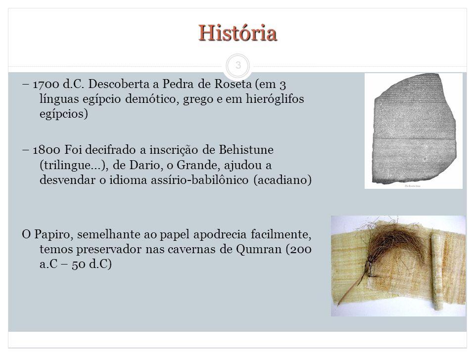 3 História – 1700 d.C. Descoberta a Pedra de Roseta (em 3 línguas egípcio demótico, grego e em hieróglifos egípcios) – 1800 Foi decifrado a inscrição
