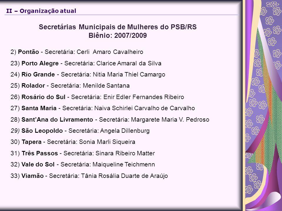 Secretárias Municipais de Mulheres do PSB/RS Biênio: 2007/2009 2) Pontão - Secretária: Cerli Amaro Cavalheiro 23) Porto Alegre - Secretária: Clarice A
