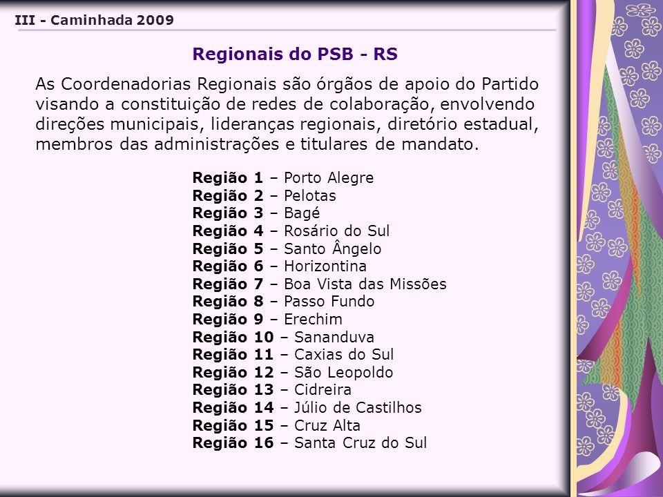Região 1 – Porto Alegre Região 2 – Pelotas Região 3 – Bagé Região 4 – Rosário do Sul Região 5 – Santo Ângelo Região 6 – Horizontina Região 7 – Boa Vista das Missões Região 8 – Passo Fundo Região 9 – Erechim Região 10 – Sananduva Região 11 – Caxias do Sul Região 12 – São Leopoldo Região 13 – Cidreira Região 14 – Júlio de Castilhos Região 15 – Cruz Alta Região 16 – Santa Cruz do Sul III - Caminhada 2009 Regionais do PSB - RS As Coordenadorias Regionais são órgãos de apoio do Partido visando a constituição de redes de colaboração, envolvendo direções municipais, lideranças regionais, diretório estadual, membros das administrações e titulares de mandato.