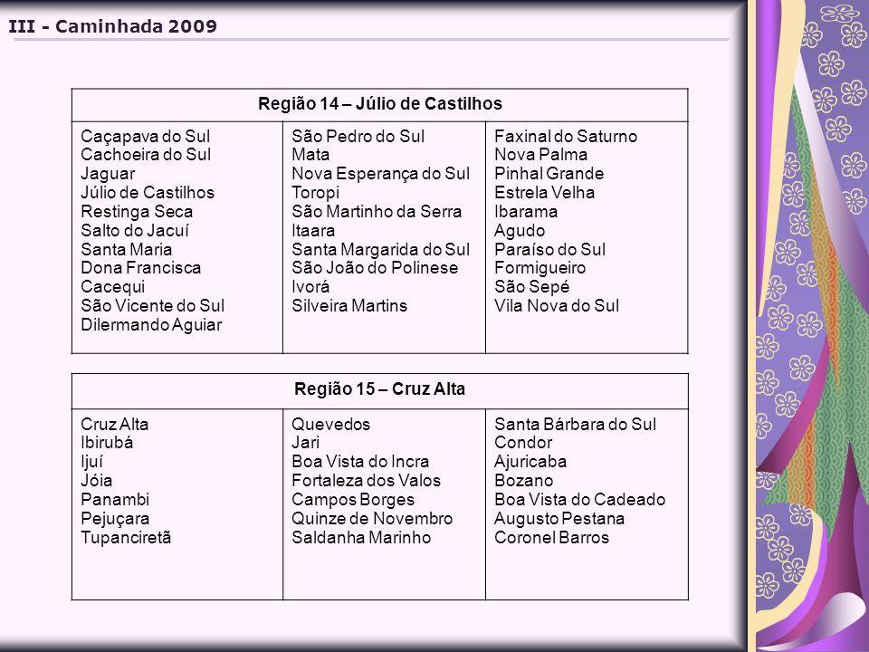 Região 14 – Júlio de Castilhos Caçapava do Sul Cachoeira do Sul Jaguar Júlio de Castilhos Restinga Seca Salto do Jacuí Santa Maria Dona Francisca Cace